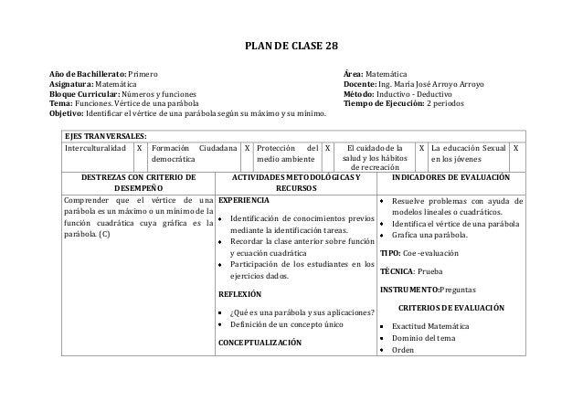 PLAN DE CLASE 28Año de Bachillerato: Primero Área: MatemáticaAsignatura: Matemática Docente: Ing. María José Arroyo Arroyo...