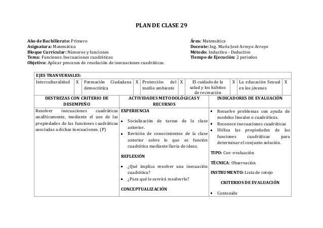PLAN DE CLASE 29Año de Bachillerato: Primero Área: MatemáticaAsignatura: Matemática Docente: Ing. María José Arroyo Arroyo...