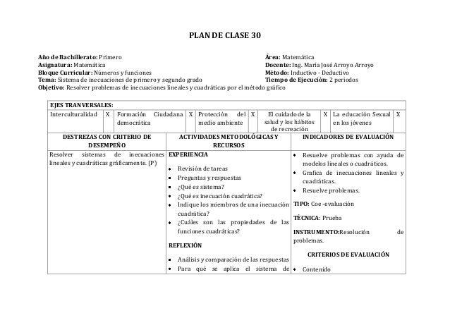 PLAN DE CLASE 30Año de Bachillerato: Primero Área: MatemáticaAsignatura: Matemática Docente: Ing. María José Arroyo Arroyo...