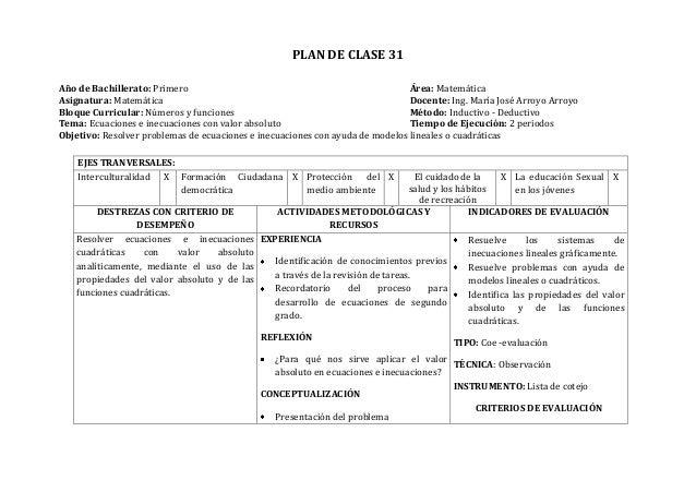 PLAN DE CLASE 31Año de Bachillerato: Primero Área: MatemáticaAsignatura: Matemática Docente: Ing. María José Arroyo Arroyo...