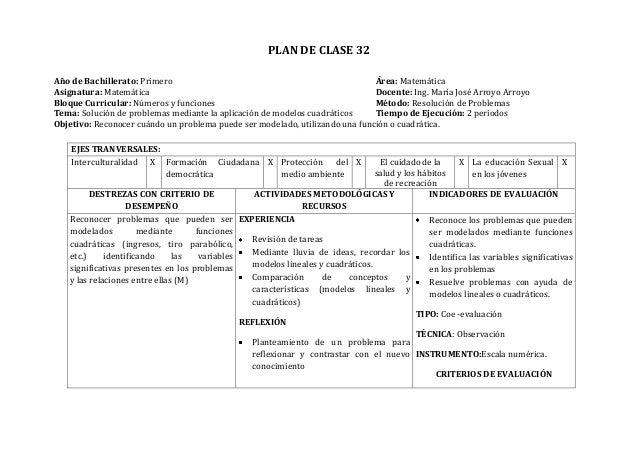 PLAN DE CLASE 32Año de Bachillerato: Primero Área: MatemáticaAsignatura: Matemática Docente: Ing. María José Arroyo Arroyo...