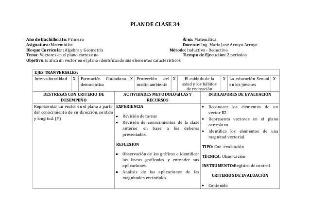 PLAN DE CLASE 34Año de Bachillerato: Primero Área: MatemáticaAsignatura: Matemática Docente: Ing. María José Arroyo Arroyo...