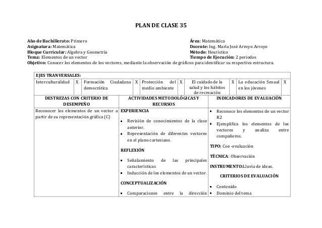 PLAN DE CLASE 35Año de Bachillerato: Primero Área: MatemáticaAsignatura: Matemática Docente: Ing. María José Arroyo Arroyo...