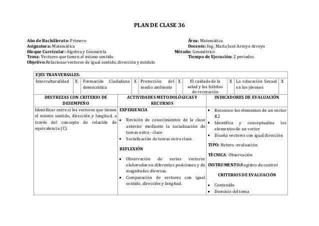 PLAN DE CLASE 36Año de Bachillerato: Primero Área: MatemáticaAsignatura: Matemática Docente: Ing. María José Arroyo Arroyo...