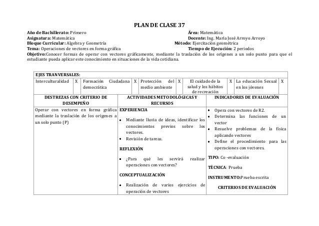 PLAN DE CLASE 37Año de Bachillerato: Primero Área: MatemáticaAsignatura: Matemática Docente: Ing. María José Arroyo Arroyo...