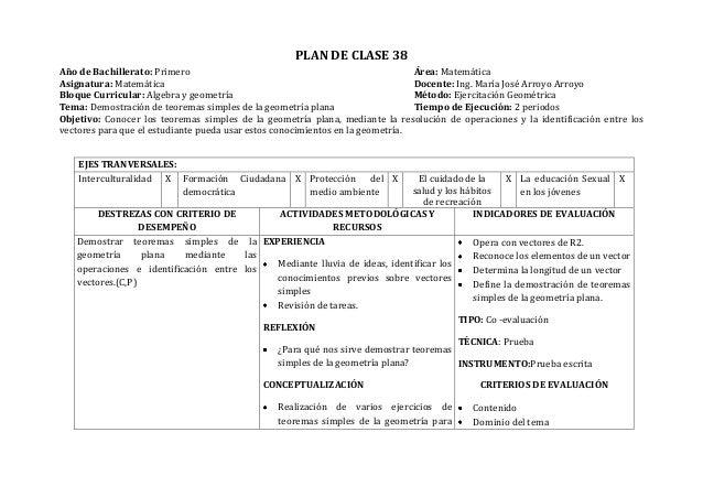 PLAN DE CLASE 38Año de Bachillerato: Primero Área: MatemáticaAsignatura: Matemática Docente: Ing. María José Arroyo Arroyo...