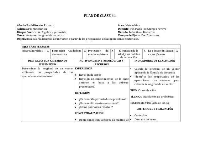 PLAN DE CLASE 41Año de Bachillerato: Primero Área: MatemáticaAsignatura: Matemática Docente: Ing. María José Arroyo Arroyo...