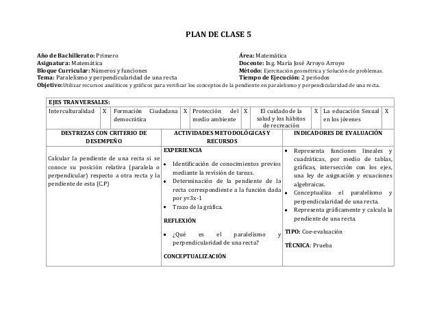 PLAN DE CLASE 5Año de Bachillerato: Primero Área: MatemáticaAsignatura: Matemática Docente: Ing. María José Arroyo ArroyoB...