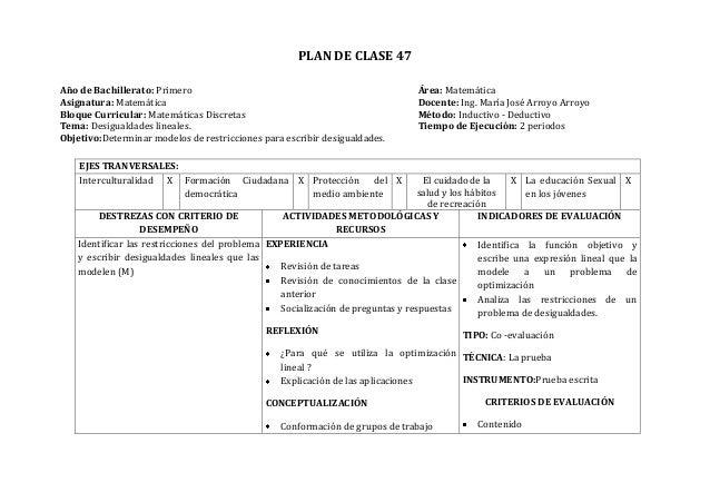 PLAN DE CLASE 47Año de Bachillerato: Primero Área: MatemáticaAsignatura: Matemática Docente: Ing. María José Arroyo Arroyo...