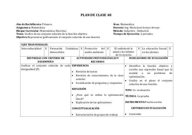 PLAN DE CLASE 48Año de Bachillerato: Primero Área: MatemáticaAsignatura: Matemática Docente: Ing. María José Arroyo Arroyo...