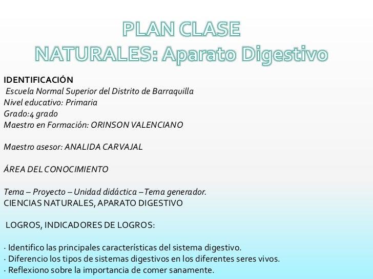 PLAN CLASE<br />NATURALES: Aparato Digestivo<br />IDENTIFICACIÓN<br />Escuela Normal Superior del Distrito de Barraquilla...