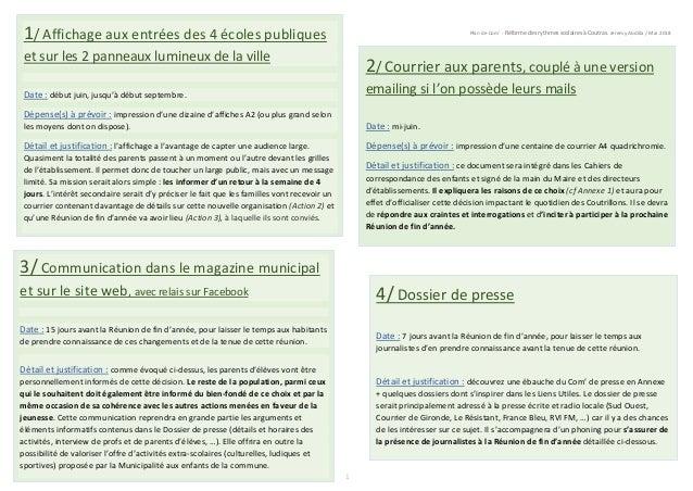 Plan de Com' - Réforme des rythmes scolaires à Coutras. Jeremy Abdilla / Mai 2018 1 1/ Affichage aux entrées des 4 écoles ...
