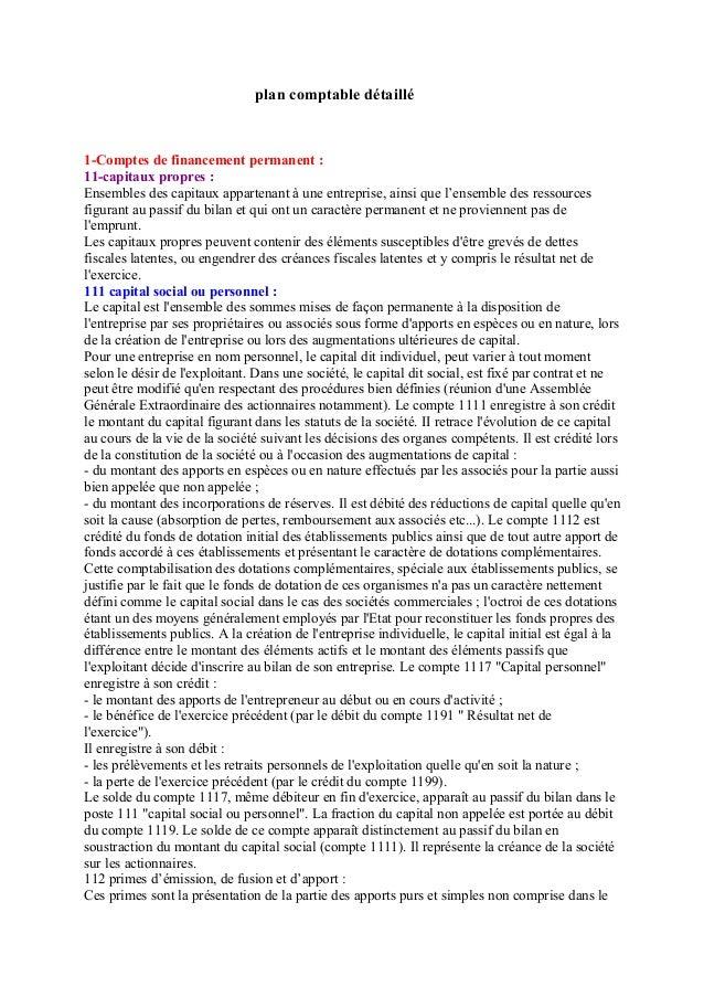 plan comptable détaillé 1-Comptes de financement permanent : 11-capitaux propres : Ensembles des capitaux appartenant à un...