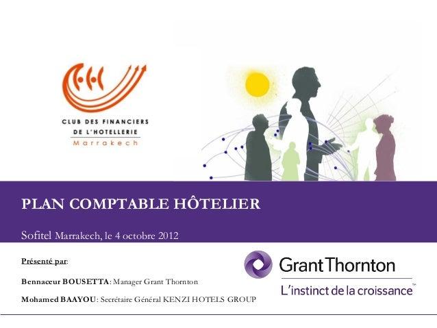 1 Plan comptable du secteur hôtelier3ème édition Club des Financiers de l'Hôtellerie de Marrakech Présenté par: Bennaceur ...