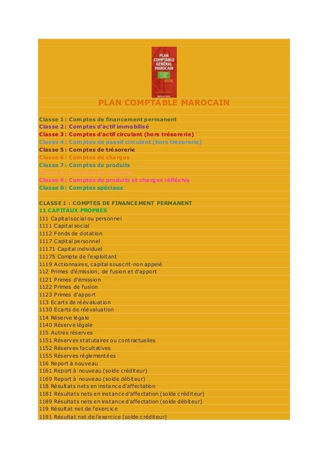 PLAN COMPTABLE MAROCAIN Classe 1 : Comptes de financement permanent Classe 2 : Comptes d'actif immobilisé Classe 3 : Compt...