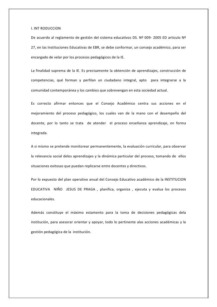 I. INT RODUCCION<br />De acuerdo al reglamento de gestión del sistema educativos DS. Nº 009- 2005 ED articulo Nº 27, en la...