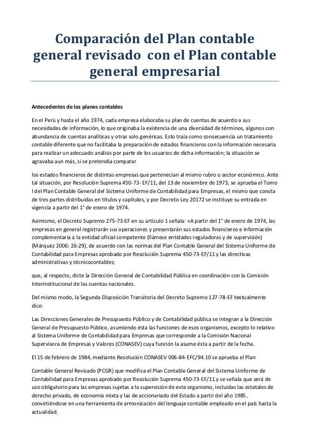 Comparación del Plan contablegeneral revisado con el Plan contable         general empresarialAntecedentes de los planes c...