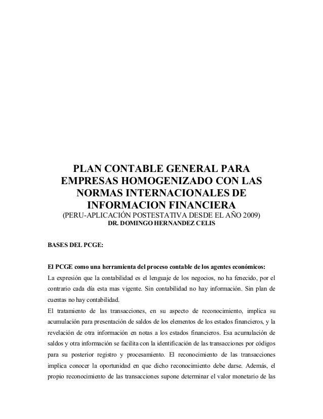 Plan Contable General Homogenizado Niif Pymes