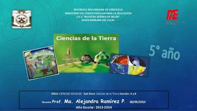 ÁREA: CIENCIAS SOCIALES Sub-Área: Ciencias de la Tierra Sección: A y B Docente: Prof. Ma. Alejandra Ramírez P. 30/09/2013 ...