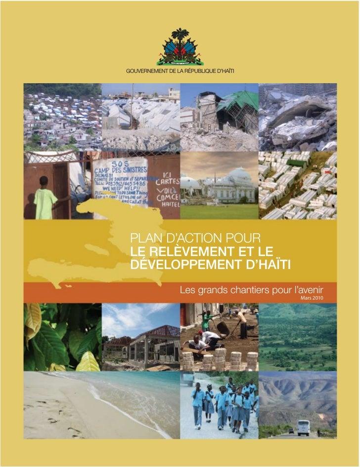 Plan d'action pour le relèvement et le développement national d'HaïtiTable des matièresPlan d'action pour le relèvement et...
