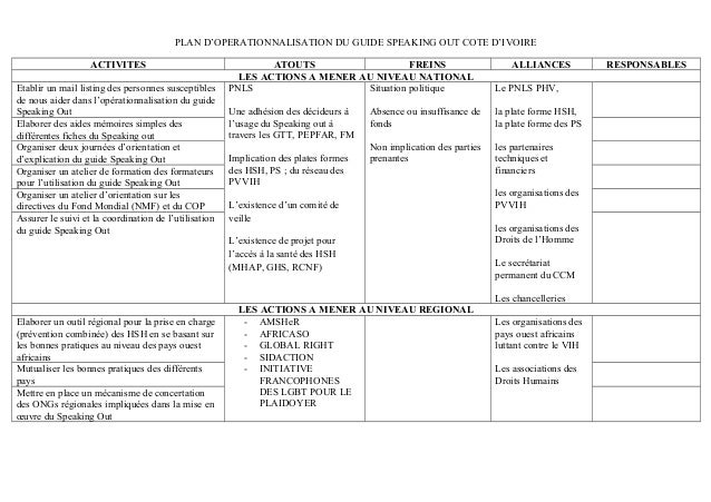PLAN D'OPERATIONNALISATION DU GUIDE SPEAKING OUT COTE D'IVOIRE  ACTIVITES ATOUTS FREINS ALLIANCES RESPONSABLES  LES ACTION...