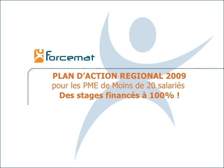PLAN D'ACTION REGIONAL 2009 pour les PME de Moins de 20 salariés   Des stages financés à 100% !