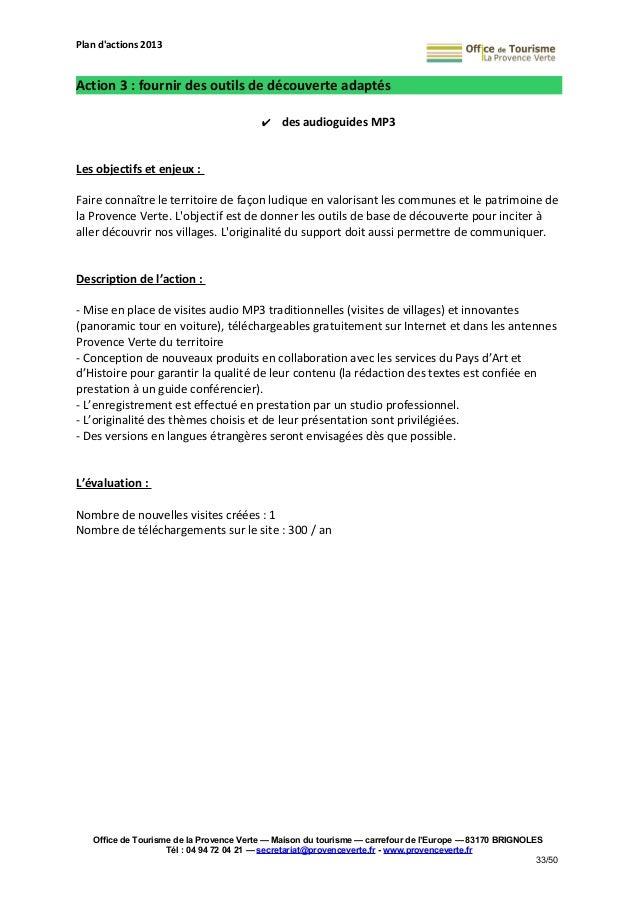 Plan d 39 actions 2013 de l 39 office de tourisme de la provence verte - Office de tourisme plan de la tour ...