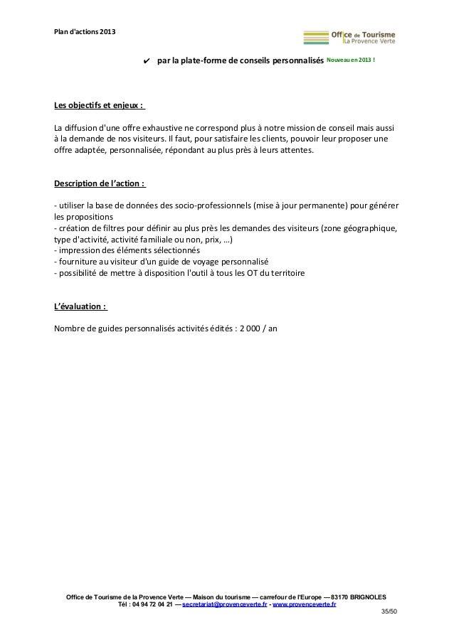 Plan d 39 actions 2013 de l 39 office de tourisme de la provence verte - Mission office de tourisme ...
