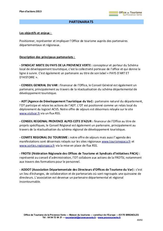 Plan d 39 actions 2013 de l 39 office de tourisme de la provence verte - Office de tourisme du var ...