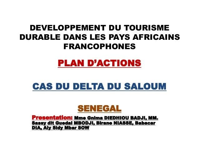 DEVELOPPEMENT DU TOURISMEDURABLE DANS LES PAYS AFRICAINSFRANCOPHONESPLAN D'ACTIONSCAS DU DELTA DU SALOUMSENEGALPresentatio...