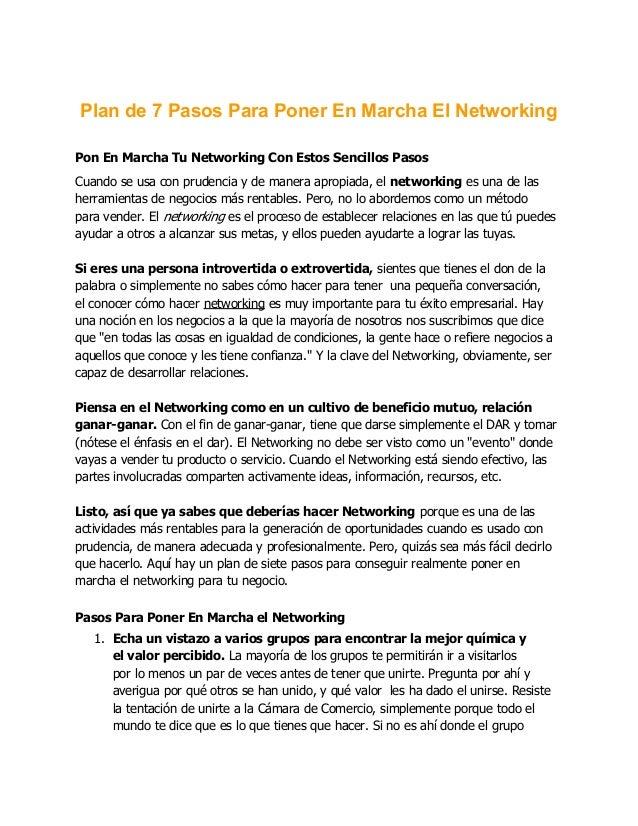 Plan de 7 Pasos Para Poner En Marcha El NetworkingPon En Marcha Tu Networking Con Estos Sencillos PasosCuando se usa con p...