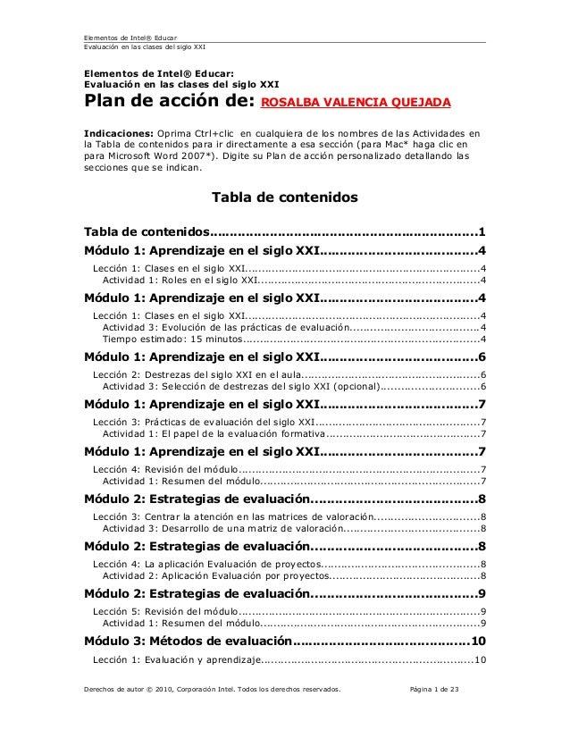 Plan de acción de evaluacion clases siglo xxi