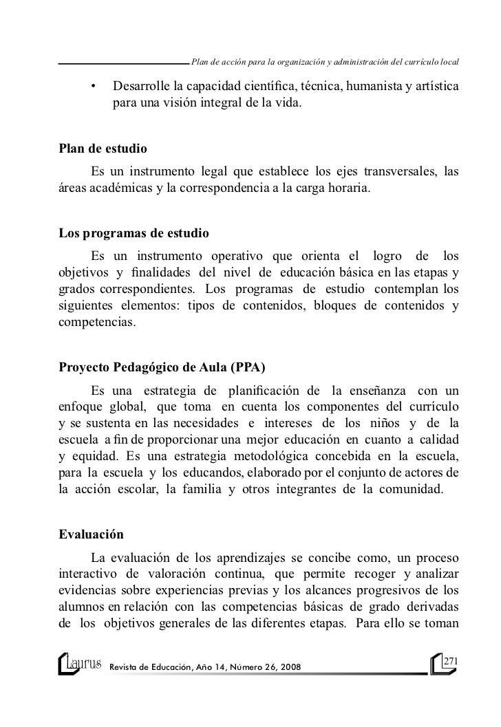 Plan de acción para la organización y administración del