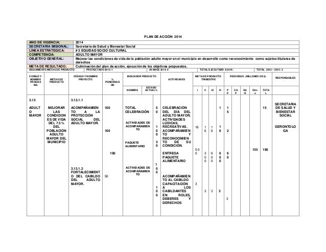 PLAN DE ACCIÓN 2014 AÑO DE VIGENCIA: SECRETARÍA MISIONAL: LÍNEA ESTRATEGICA: COMPETENCIA: OBJETIVO GENERAL:  2014 Secretar...