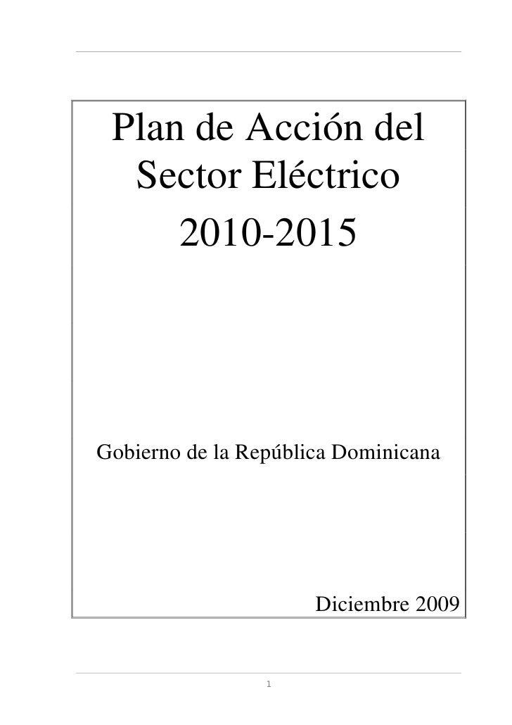 Plan De Acción Sector 2010 2015, Diciembre 2009