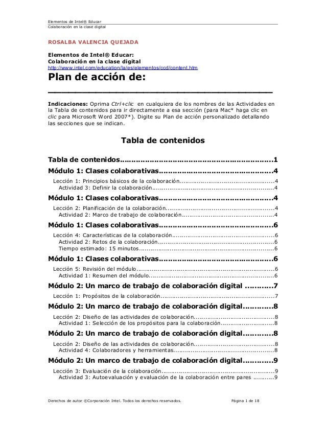 Plan de accion colaboración clase digital