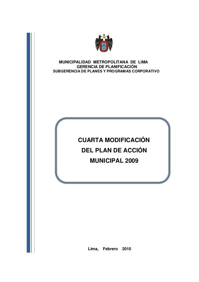 MUNICIPALIDAD METROPOLITANA DE LIMA         GERENCIA DE PLANIFICACIÓNSUBGERENCIA DE PLANES Y PROGRAMAS CORPORATIVO        ...