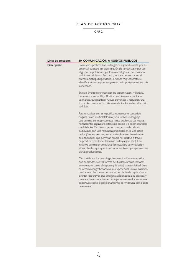 58 TURISMO Y DEPORTE DE ANDALUCÍA P L A N D E A C C I Ó N 2 0 1 7 Línea de actuación 14. ACCIONES 360º Descripción Las acc...