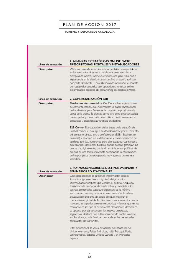 65 CAP. 2 P L A N D E A C C I Ó N 2 0 1 7 Línea de actuación 8. ENCUENTROS DE COMERCIALIZACIÓN EN ANDALUCÍA Descripción La...
