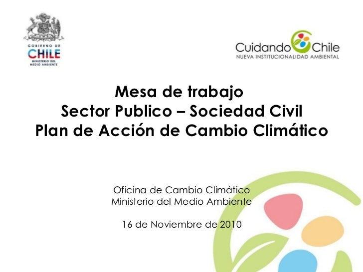 Mesa de trabajo       Sector Publico – Sociedad Civil    Plan de Acción de Cambio Climático            Oficina de Cambio C...