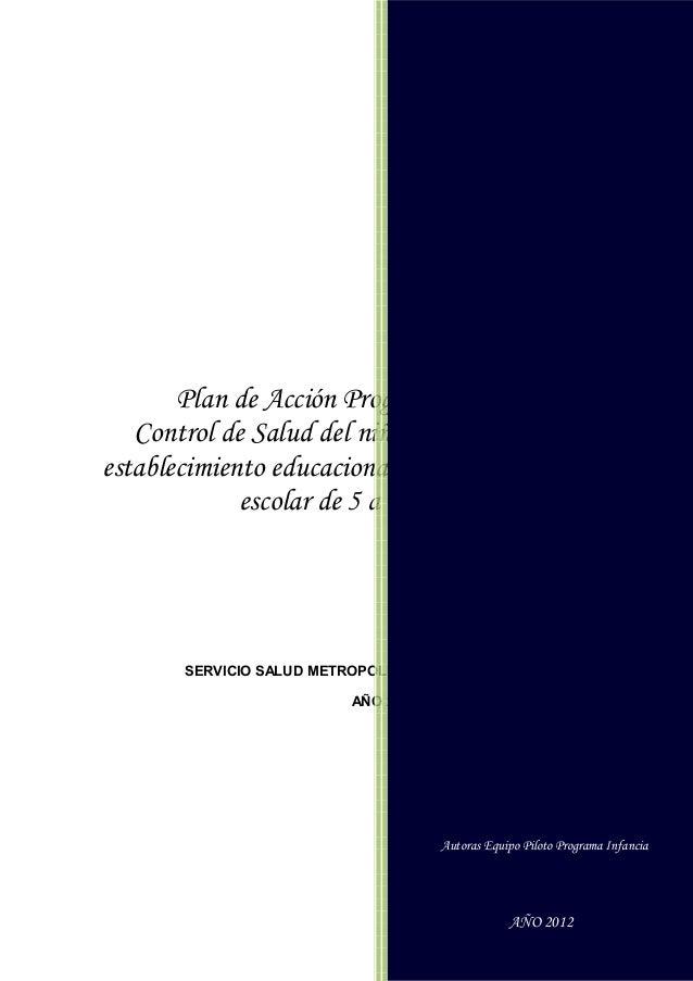 Autoras Equipo Piloto Programa Infancia                                          AÑO 2012       Plan de Acción Programa Pi...