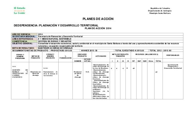 El Estado  República de Colombia Departamento de Antioquia Municipio Santa Bárbara  Al servicio de  La Gente  PLANES DE AC...