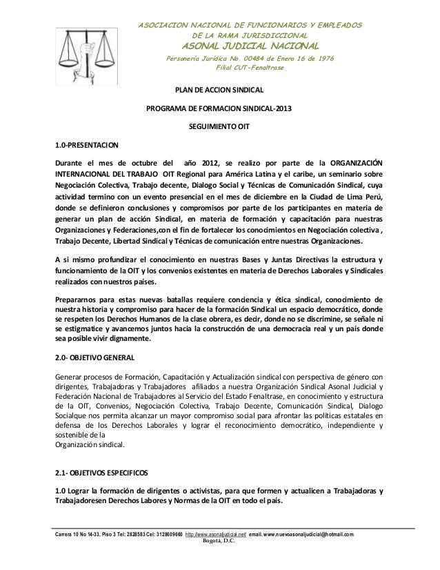 ASOCIACION NACIONAL DE FUNCIONARIOS Y EMPLEADOS DE LA RAMA JURISDICCIONAL  ASONAL JUDICIAL NACIONAL  Personería Jurídica N...