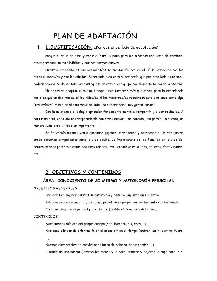 Plan de adaptaci n educaci n infantil for Adaptacion jardin infantil
