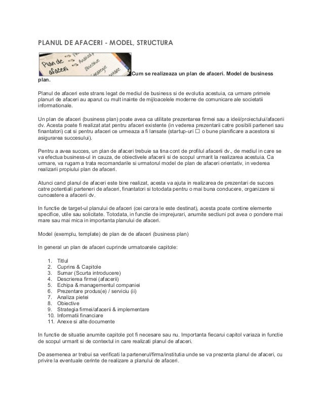 business plan de afaceri