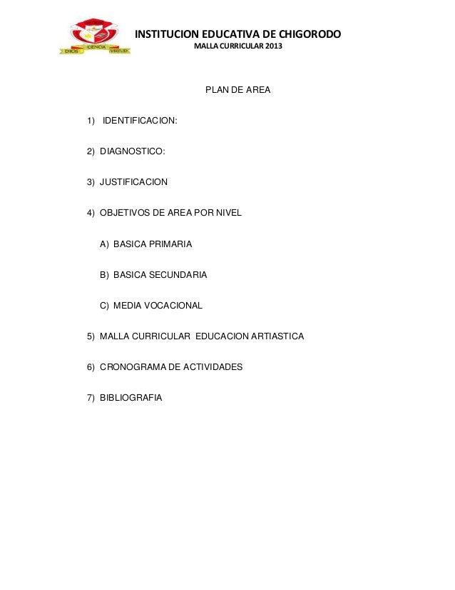 INSTITUCION EDUCATIVA DE CHIGORODO                       MALLA CURRICULAR 2013                         PLAN DE AREA1) IDEN...
