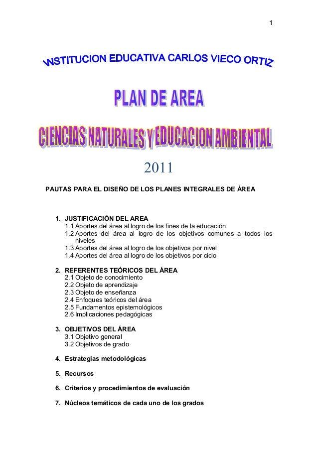 2011 PAUTAS PARA EL DISEÑO DE LOS PLANES INTEGRALES DE ÁREA 1. JUSTIFICACIÓN DEL AREA 1.1 Aportes del área al logro de los...