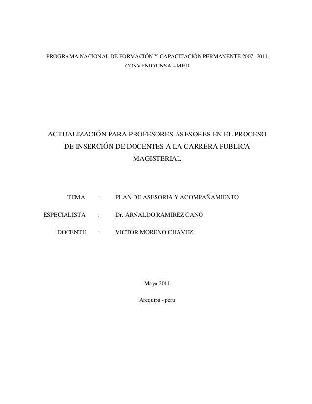 PROGRAMA NACIONAL DE FORMACIÓN Y CAPACITACIÓN PERMANENTE 2007- 2011 CONVENIO UNSA – MED ACTUALIZACIÓN PARA PROFESORES ASES...