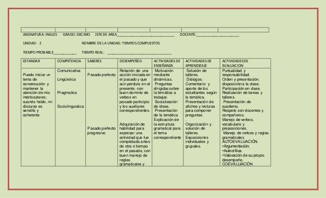 Plan De Asignatura De Ingles
