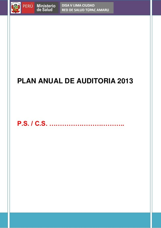 PLAN ANUAL DE AUDITORIA 2013 P.S. / C.S. ……………………………..